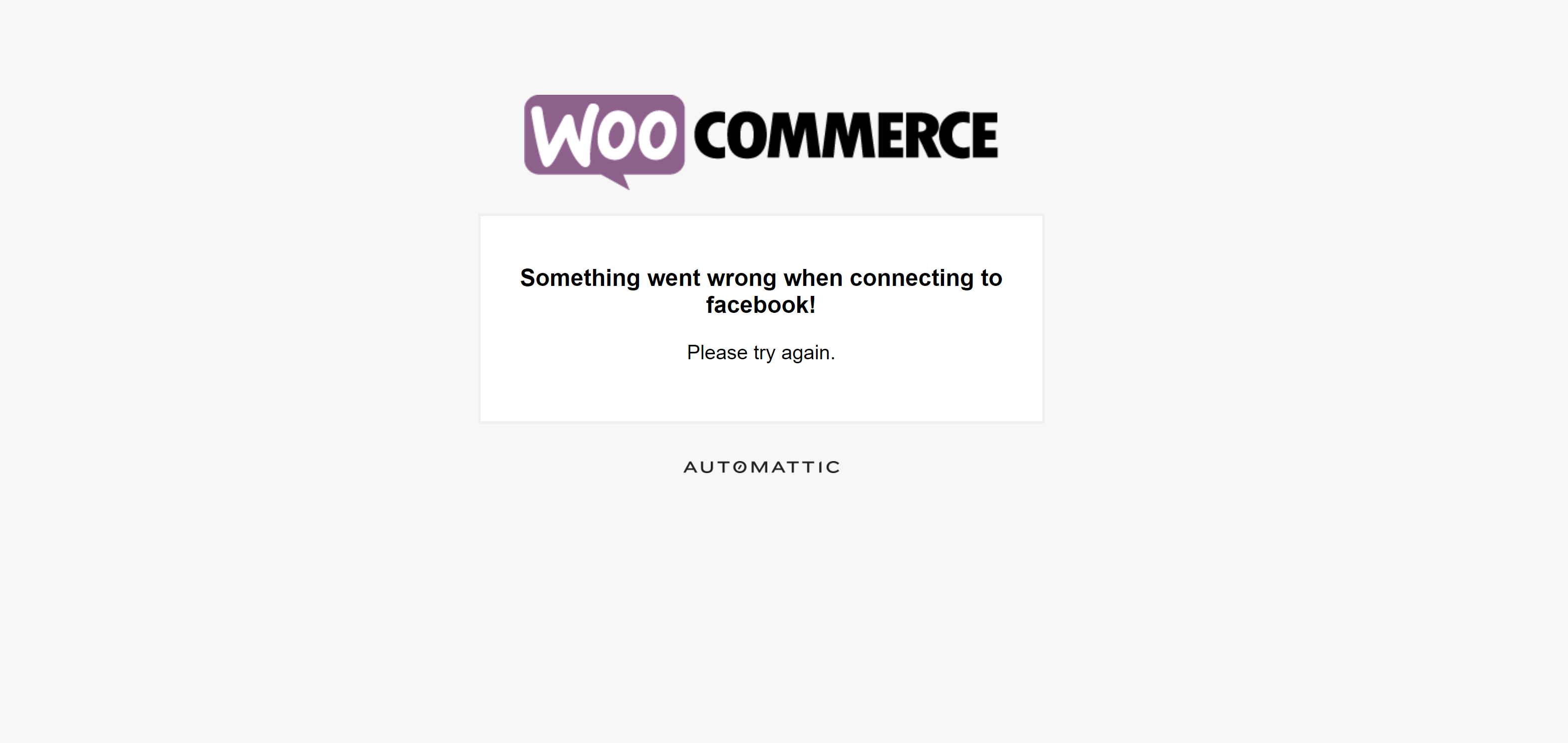 Something went wrong when connecting to Facebook! WooCommerce Integration Issue