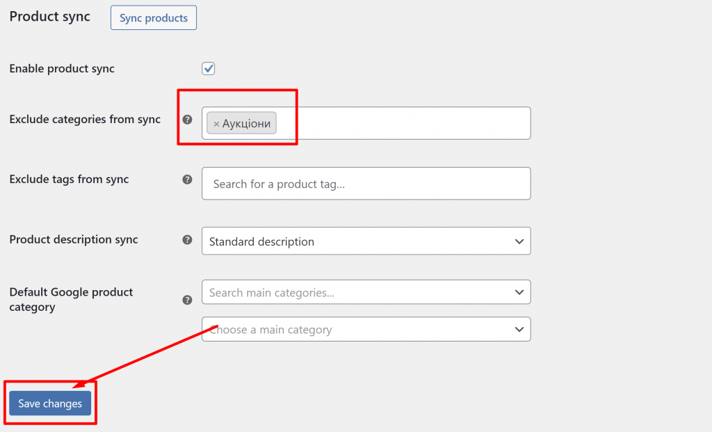 Facebook for WooCommerce - can not save product sync setting